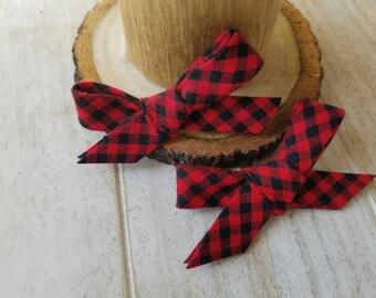 Black & Red stripe mini bows (two mini bows)