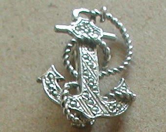 Vintage Silver Tones Marcasite Anchor Brooch Pin