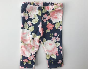 Floral, Baby Leggings, Navy, Pink, Organic, Pants, Girl