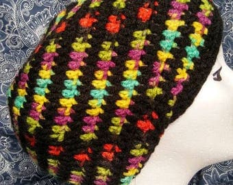 Multicolored and black handcrafted crochet slouchy hat