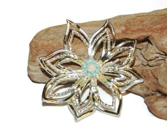 Silver and Turquoise Brooch, Turquoise Flower, Silver Flower Brooch, Flower Pin, Lapel Pin, Vintage Brooch, Spring Jewelry, Easter Gift