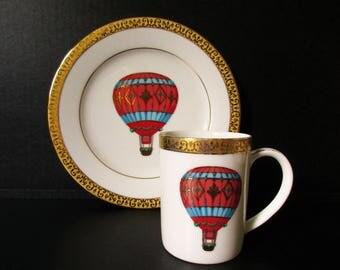 Hot Air Balloons, Gold Buffet Royal Gallery Plates Gold Band for Display or Use, 1991 Red Hot Air Balloon Plate, Hot Air Balloon Mug