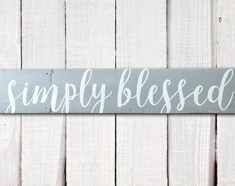Hand-painted wood sign, Simply blessed