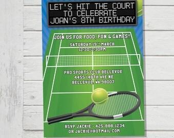 Tennis Invitation Birthday Party Invite Court Racquet Balls Sport Game Day Match (Evite) Digital File Printable Custom Invite