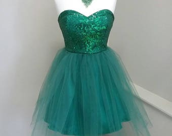 Green Sequined short Prom dress