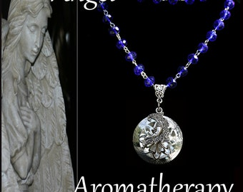 Essential Oil Diffuser Blue Bead Moon Necklace Young Living Doterra Aromatherapy