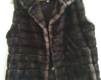 """Vintage Faux Fur Vest French La Maison De la Fausse Fourrure Vintage  """"Mink"""" Vest"""