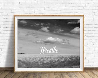 "black and white photography, large art, printable art, instant download printable art, digital download, landscape art prints - ""Breathe"""
