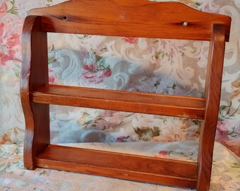 VINTAGE wooden wall shelf / Mid - century Wooden Spice Rack / VTG little spice in Boisetagere Cabinet