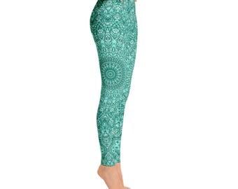 Womens Yoga Pants - Turquoise Patterned Leggings for Women, Blue Mandala Printed Boho Leggings
