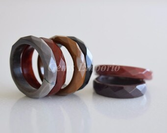 Natural Agate Ring, Faceted Bands / Beautiful Rings. US Size 6.5, 7 , 7.25 , 7.5 and 8 . Colorful Natural Bands / AGR-8 / Price per piece