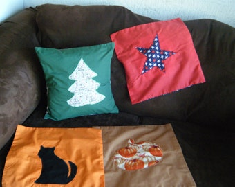 Holiday Throw Pillow Set, 4 Changeable covers, Envelope Closure, Includes pillow form, Christmas, Halloween, Fall and Summer