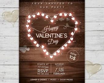 Valentines Invitation, Happy Valentines Flyer, Valentines Day Party Invite, Valentines Party Invitation Printable, Vintage Wood Flyer