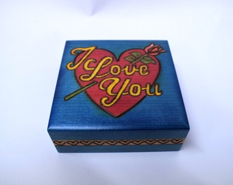 Handmade wooden box / Valentines box / Jewellery box/ I love you/ Box with rose/ Trinket Box/ Box for Her/ Box with flower/ Box with Heart