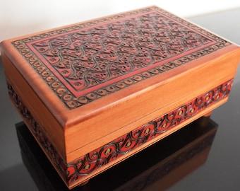 Handmade Wooden Secret Box/ Wooden Puzzle Box/ Trick Box/ Keepsake Box/ Jewellery Box/ Trinket Box/ Secret Opening