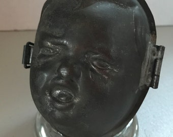 Rare Antique Crying Baby's Head Chocolate Candy Egg Mold #212