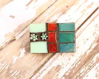 Teal Mosaic Brooch, Rectangle Colourful Brooch, Starry Brooch, Mosaic Brooch, Statement Brooch, Bold Brooch, Colourful Accessory, Mosaic Pin
