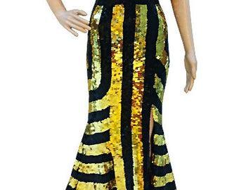 Sequin Dress - Robe Or Noir  - Diva Dress, Cabaret Dress, Sequin Gown, Diva Sequin Dress, robe à paillettes, Paillettenkleid