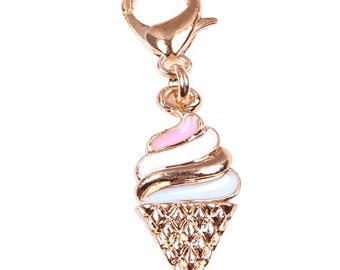 Gold Tone Clip on Ice Cream Cone Charm