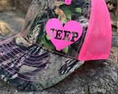 Jeep Girl Camo Trucker Hat: Pink Mesh Back Hat with heart detail