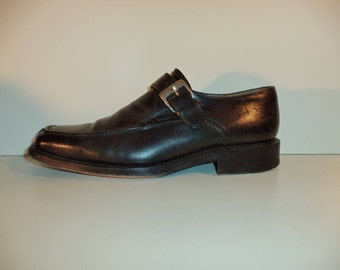 Fratelli Rossetti oxfords// 90s black leather traditional buckle Italian designer dress shoes// Men's size 9 USA 8 UK