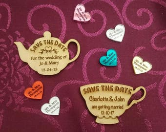 Save the date magnets rustic engraved wood vintage tea party teapot teacup personalised wedding fridge beauty and the beast theme