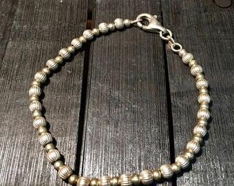 Vintage Sterling Silver Textured Beaded Bracelet   #166