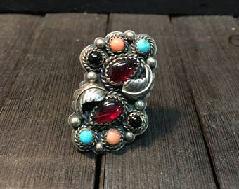 Vintage Native American Sterling Silver/ Multi Stone Ring  #254
