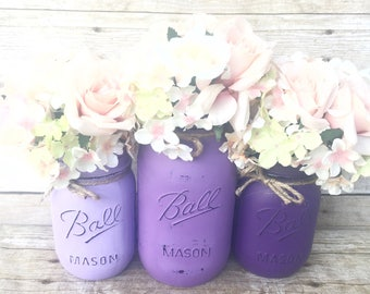 Set of 3 Hand Painted Mason Jars, Home Decor, Centerpieces, Purple Mason Jars, Purple Weddings, Rustic Decor, Shabby Chic, Babyshower!