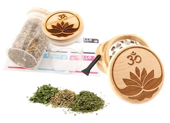 Om Engraved Premium Natural Wooden Grinder & Wood Lid Glass Jar Gift Set # GS103116-25