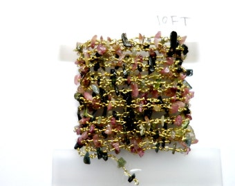 Five Feet Multi Color Tourmaline Chips(Rough Nuggets)  Beaded Chain, Connected With Gold Plated Chain , Beaded jewellery