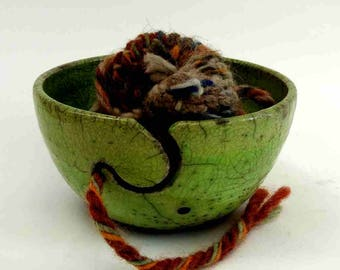 Yarn Bowl Raku / lime / hand-made by the ceramist