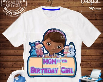 Mom of the Birthday Girl Doc Mcstuffins Iron on transfer by mail and Digital Printable, DocMcstuffins Birthday personalize iron on transfer