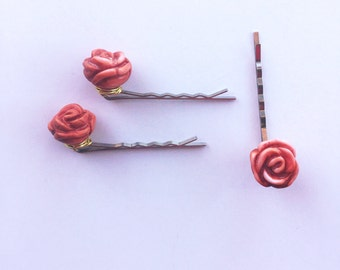 Set of Three Mother of Pearl Rose Hair Pins. Set of Three Rose Hair Pins. Set of Three Flower Hair Pins.