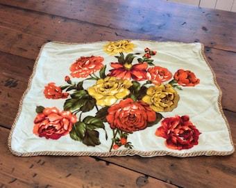 Vintage Pillow Sham, Peony, Floral, Shabby Chic, Robins Egg Blue (B384)
