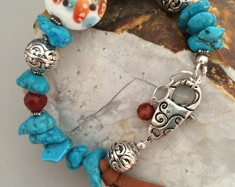 Magnesite Bracelet, Mixed Media Bracelet, Lampwork with Stones Bracelet