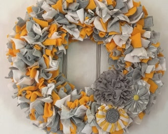 Welcome Wreath, rag wreath, gray, yellow, wall decoration, wall hanging, front door hanger, home decor,  most aDOORable wreaths, every day,
