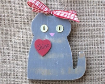 Custom Cat Ornament, Wood Ornament, Holiday Ornament, Cat Ornament, Custom Colors, Customized Cat, Made to Order, Kitty Ornament, Christmas