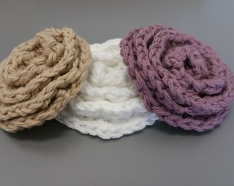 Reusable 100% Cotton Crochet Flower Face Scrubbies, Facial Wash Cloth, Ecofriendly Makeup Remover Pads, Face Scrubbers, All Natural Skincare