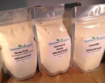 Milk Bath Powder Soak - 12 oz - Relaxing and Skin Moisturizing Formula - Select Your Scent
