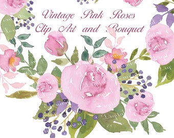 Watercolor Flowers, Digital Floral Clipart, Shabby Pink Rose Clip Art, Hand Painted Watercolor Floral, Floral Graphic Designs. WC.7