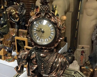 Vintage Large Egyptian Copper Elephant Clock Made In Egypt One Of The Kind