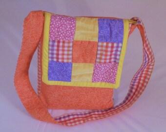 Colorful Orange 9-Patch Cross-Body Bag