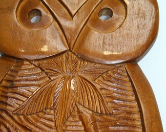 owl large retro owl wood carving Oriental Asian wood carving owl women hand carved wooden owl retro owl wall decor wood carving of  2 ft big