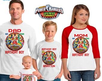 Power Rangers inspired family birthday theme shirt/power ranger dino charge birthday shirt/vacation shirt/dino charge power rangers