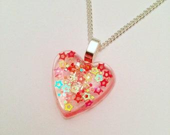 Resin Heart Pendant - Resin Heart Necklace - Orange Heart Necklace - Orange Heart Pendant - Orange Resin Necklace - Resin Necklace - Jewelry