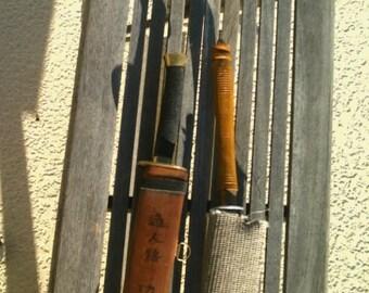 Set of 2 Vintage Antique Japanese Sword Sheath Writing Swards Samurai