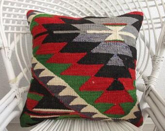 Turkish Geometric Design Pillow Multicolour Pillow Throw Pillow Anatolian Kilim Pillow 18x18 Large Kelim Kissen Handmade Pillow 785
