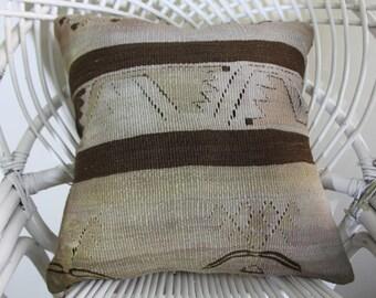 """Turkish pillow pastel color striped kilim pillow  16x16  striped kilim pillow coussin kilim embroidered pillow 16""""x 16"""" 40cm x 40cm 2097"""