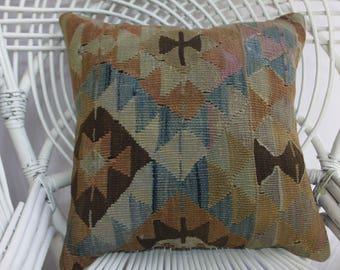 "18x18 kilim pillow cover 18""x18"" Turkish kilim pillow 18x18 handmade kilim pillow geometric pillow anatolian kilim rug cushion cover 1385"
